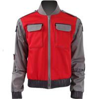 trajes rojos para hombre al por mayor-Los futuros de espaldas cosplay Marty McFly rojo chaqueta de la capa de la película Volver Futuro Marty McFly cosplay traje para las mujeres y los hombres