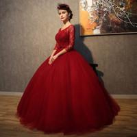 robes de mariage de vente de porcelaine achat en gros de-Robes de mariée rouge à manches longues en dentelle de tulle robe de bal mariage Chine robes de mariée mariage robe de mariée en vente