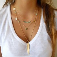 Wholesale coin necklaces online - Multilayer Coin Tassels Pendant Necklaces Beads Choker Feather Necklaces for Women Bijoux Jewelry Gift Cheap