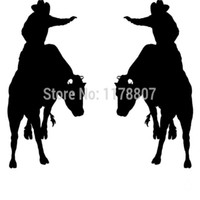 toro occidental al por mayor-HotMeiNi Al Por Mayor 20 unids / lote 2 Bull Rider Cowboy Western Para Car Window Truck SUV Auto Laptop Kayak Arte de la Pared Izquierda Derecha Pegatinas