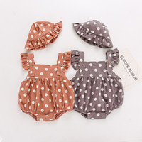 Wholesale baby polka dots hat resale online - Newborn Polka Dot Print Romper Baby Girl Sundress Cotton Clothes Lace Strap Jumpsuit with Sun Hat set Kids Printed Clothing M1165