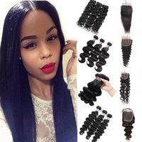Wholesale loose weave human hair closure for sale - 8 quot Brazilian Deep Loose Body Wave Bundles With x4 Lace Closure Virgin Hair Extensions Deep Wave Human Hair Bundles with Closure