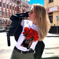 gündüz tee spor kadınları toptan satış-Yaz kadın spor giyim üstleri Kısa kollu yüksek topuklu baskı T-Shirt casual gömlek tees boyut S-3XL