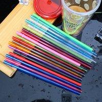 paillettes achat en gros de-Pailles à boire en plastique colorées 10.5inch 26cm pailles réutilisables pour les hautes gobelets maigres PP couleur de bonbons pailles pour les outils de bar à cocktails
