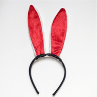 Wholesale cotton cat woman costume online - Classic red bunny rabbit ears cosplay role playing accessories cartoon headdress fresh sweet style headband rabbit ears