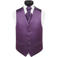 lila krawatten weste großhandel-Hübsche lila Satin Hochzeit Westen Custom Made Bräutigam Weste Slim Fit Herren Anzug Weste Weste Kleid mit zwei Taschen (Weste + Krawatte)