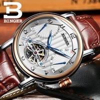 relógios mecânicos dos homens do binger venda por atacado-Suíça relógios homens BINGER negócio safira Resistente à Água pulseira de couro Mecânica Relógios De Pulso B-1172-4