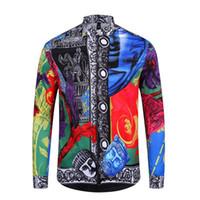 hombres de manga larga de seda al por mayor-2019 Otoño invierno manga larga camisas casuales hombres camisa de vestir estampada Color Print Slim Fit Medusa camisas de seda M-2xl