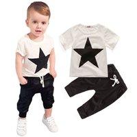 meninos terno top calças venda por atacado-2019 2020 nova 2pc criança roupas de bebê menino bebê t-shirt topos + Hallen calças roupas de crianças terno