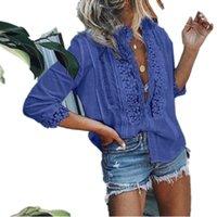 blusas de praia venda por atacado-Verão Sexy Mulheres Rendas Tops E Blusas Senhoras Elegantes Oco Out Meia Manga V Neck Camisa Blusa Boho Praia