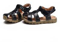кожаные сандалии оптовых-2019 новые детские сандалии из натуральной кожи мальчик ребенок мальчик Бао Баотоу скользкий мальчик дети летняя обувь
