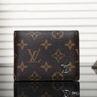 erkek cüzdan boyutu toptan satış-AAA + Moda Lüks Tasarımcı Cüzdan Sahipleri Yüksek Kalite Erkekler Ve Kadınlar Deri Eski Çiçek Ekose Prim Marka Cüzdan Boyutu Ile 10 * 10 Kutu