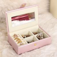 joyería de la marca princesa al por mayor-Brand New Portable PU Jewelry Carying Box For WOmen caja de almacenamiento de cuero Jewel Box Europeo Princess Ring Necklace Jewelry Case