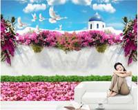 Wholesale 3d mural wallpaper flower for home resale online - WDBH custom photo d wallpaper Flower white dove romantic scenery background living room Home decor d wall murals wallpaper for walls d
