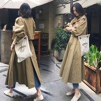 faldas de abrigo coreano al por mayor-Sobre la rodilla Falda larga cazadora femenina 2019 primavera otoño elegante versión coreana Gabardina de manga larga para mujer outwears