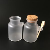 ahşap mantar şişeleri toptan satış-36 X Boş ABS Buzlu Mühür Banyo Tuzu Şişesi Ile Ahşap Mantar Banyosu Tuz Kavanoz Ahşap Kaşık Ile 100 ml / 200 ml