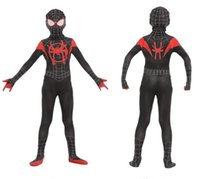 Wholesale zentai hero cosplay for sale - Kids Movie Spider Man Into the Spider Verse Jumpsuit Zentai Spider Man Bodysuit Halloween Cosplay Costume Suit