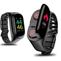 смотреть наушники bluetooth оптовых-2 в 1 смарт-часы браслет с Bluetooth наушники IP67 водонепроницаемый шаг подсчета сердечного ритма спортивные смарт-часы браслет для Android iOS Cel