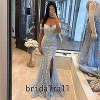Wholesale dresses resale online - Off Shoulder Sky Blue Mermaid Evening Dresses White Appliques Lace Formal Bridesmaid Dress Prom Front Split Party Gowns Vestido de fiesta