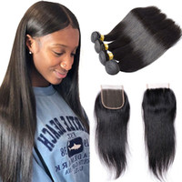 Wholesale double drawn hair for sale - Group buy Straight Human Hair With Closure Unprocessed Double Drawn Weaves Human Hair Bundles For Natural Black Kinky Straight Weaving Hair