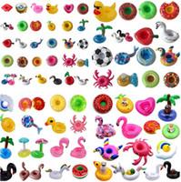 schwimmender flamingo großhandel-Aufblasbare Cup Float Flamingo Cup Holder Untersetzer Aufblasbare Getränkehalter für Schwimmbad Luftmatratzen Pool Spielzeug 4715