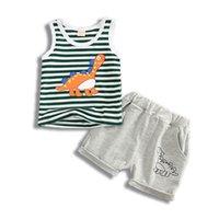 erkekler için rahat yelek toptan satış-Erkek Giyim Setleri Yaz Çocuk Rahat Çizgili karikatür dinozor Yelek Pamuk T-shirt + Şort 2 adet suit Çocuk Giyim Setleri