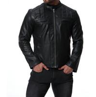 ingrosso giacche moto nero marrone-giacca in pelle da uomo slim nero marrone moto giacche in pelle da uomo giacche abiti personalizzati per strada street fashion colletto stand