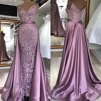 Wholesale red long evening gown lace resale online - Vintage Robe De Soiree Mermaid Long Evening Dresses Sirene Spaghetti Strap Detachable Tail Lace Sleeveless Robe Longue Prom Gowns