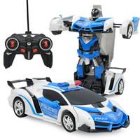 robô controlado venda por atacado-RC 2 em 1 Transformador De Carro De Condução Modelo de Veículo Esportivo Deformação Carro Robôs De Controle Remoto Brinquedos Infantis Brinquedos Coche De Juguete