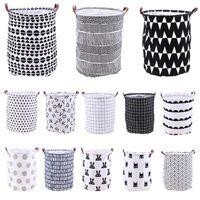Wholesale laundry barrel resale online - Home Folding Laundry Basket Cartoon Storage Barrel Standing Toys Clothing Storage Bucket Laundry Organizer Holder Pouch TTA782