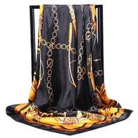 eingewickelte kette großhandel-Retro Damen Seidenschal Bandana Mode Frauen Gedruckt Hijab Schal Leopard Kette Muster Große Quadratische Schals Wrap