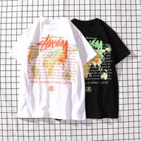 ingrosso mappa bianca nera-2019 Vendita Calda Primavera Estate Stagione Stussy Fashion T-Shirts The World Map Abbigliamento Uomo Trend Figura T-Shirt Bianco Nero Taglia M-XXL