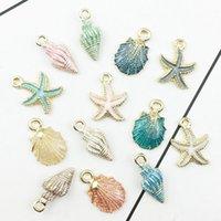 13 goldcharme großhandel-13 teile / los Nautik Ocea Emaille Sea Starfish Shell Conch Hippocampus Charms Bunte Öltropfen Anhänger für Schmuck zubehör DIY