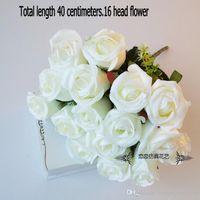 ramo de rosas falsas al por mayor-Puple francés rosa flor artificial ramo floral boda decoración para el hogar flor falsa 48 cm 12 cabezas rosa manojo