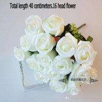 gül demeti buketi toptan satış-Puple Fransız Gül Yapay Çiçek Çiçek Buketi Düğün Ev Dekor Sahte Çiçek 48 CM 12 Kafaları Gül Bunch