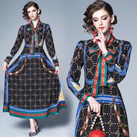 corbatas de diseñador vintage al por mayor-2019 Pista de lujo camisa de la impresión de la vendimia Maxi vestidos de mujer casual de las señoras lazo de la cinta botón cuello una línea de vestidos de diseño de manga larga túnica
