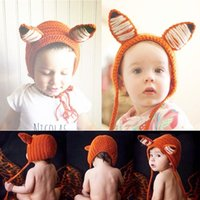 ingrosso cappelli di volpe di volpe-Baby Cartoon Little Fox Cappello lavorato a maglia Infant Baby Winter Warm Hat Full Moon Baby Art Photo Hat 2 Pezzi ePacket