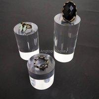 акриловый прозрачный дисплей оптовых-Высокое качество Clear Cylinder Акриловые ювелирных изделий дисплея серьги держателя кольца Стеллаж Круглый Column Блок стойки дисплея 40 мм Диаметр