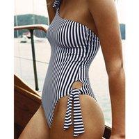 derin mavi mayo toptan satış-Çizgili Tek Parça Mayo Tek Omuz Kadınlar Mayo Push Up Mayo Derin Mavi Monokini Bodysuit Maillot De Bain T3190601