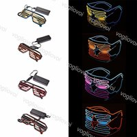 Discount halloween shoelaces Novelty Lighting Portable Glasses Light With Multicolor Flashing String DC3V PVC Gift For Hoilday Halloween Festival Party Decoration DHL