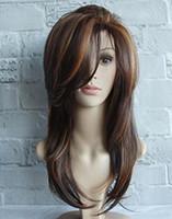perruque brune frisée achat en gros de-Dernières perruques Europe et Amérique dames long côté bouclé frange brun met en évidence les cheveux longs micro-volume cheveux raides