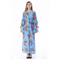 платье с длинными рукавами оптовых-Women Summer Flora Printed A-Line Dresses Bell Long Sleeve Ankle-Length Ribbon Female Dress Crew Neck M-5XL
