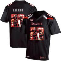 usa fútbol americano al por mayor-Jace encargo para hombre del jersey del fútbol Amaro Texas Tech EE.UU. bandera de la manera impresión de alta calidad cosido American College Football jerseys
