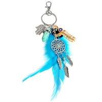 opal taş yüzükleri toptan satış-Moda Doğal Opal Taş Dreamcatcher Anahtarlık Çanta Charm Moda Gümüş Kadınlar Için Boho Takı Tüy Anahtarlık Yüksek Kalite