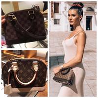 Wholesale box leather handles resale online - Designer Womens Handbag ALMA BB shell bag handle cute bags Damier Ebene crossbody bag patent leather Cross body Bag
