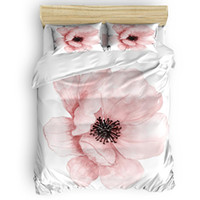 beyaz çiçek nevresim takımı toptan satış-Pembe Çiçek Nevresim Set Çarşaf Yorgan Kapağı Yastık Kılıfı Ikiz Tam Kraliçe Kral 4 adet Yatak Setleri beyaz