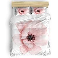 in voller größe weiße bettwäsche-sets großhandel-Pink Flower Bettbezug Set Bettwäsche Trösterbezug Kissenbezüge Twin Full Queen King Size 4 Stück Bettwäsche-Sets Weiß