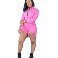 ingrosso pantaloncini in jeans xl-Pantaloncini di jeans corti sexy da donna per donna rosa moda vintage slim maniche lunghe tuta di jeans tute pantaloncini XXL