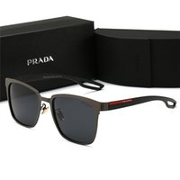 Wholesale logo drive for sale - Group buy Men high grade leather designer sunglass attitude sunglasses square logo on lens men designer sunglasses shiny Black New with Box P0120