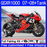 Wholesale k7 fairings resale online - Factory red blk Gifts Tank For SUZUKI GSXR K7 GSX R1000 GSXR HM GSXR1000 Bodywork GSX R1000 Fairings